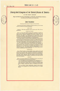 The official copy of the War Powers Resolution, passed over President Nixon's veto in 1973
