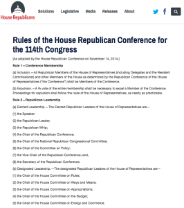 The House Republican Conference publishes its rules online.